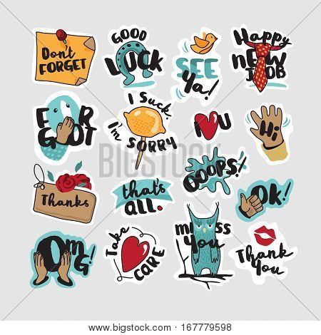 Everyday stickers for mobile messages, chat, social media, online communication, networking, web design, printed material. Set of vector illustration concepts.