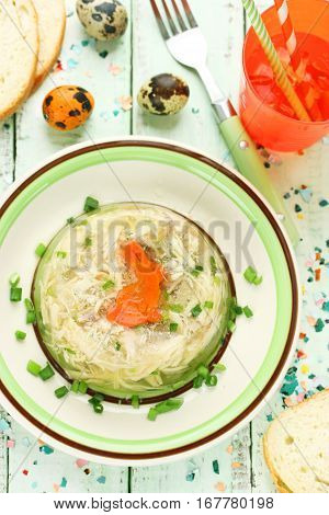 Rabbit galantine aspic with carrot bunny for Easter dinner