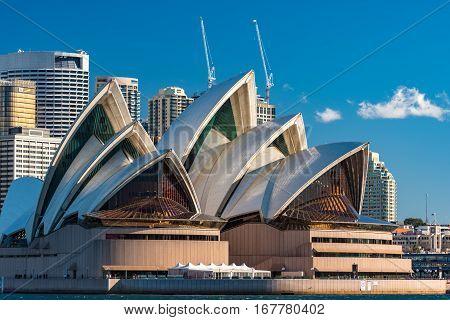 Sydney Opera House Close Up. Circular Quay, Sydney Harbour