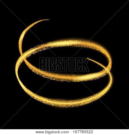 Vector gold light trail circle. Yellow neon glowing fire ring trace. Glitter magic sparkle swirl trail effect on transparent background.