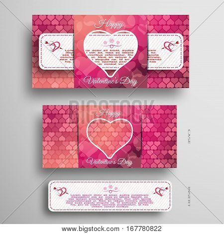 Vector set of pink and red greeting card with heart pattern for Valentine's Day with insert white paper stripe on the gray background.