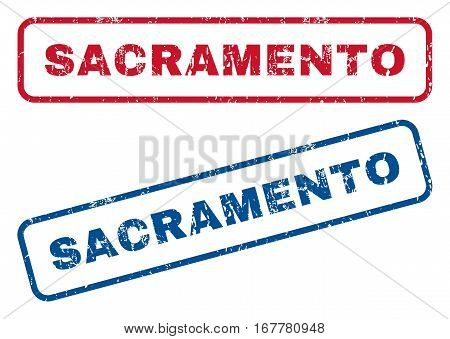 Sacramento text rubber seal stamp watermarks. Vector style is blue and red ink caption inside rounded rectangular shape. Grunge design and dust texture. Blue and red emblems.