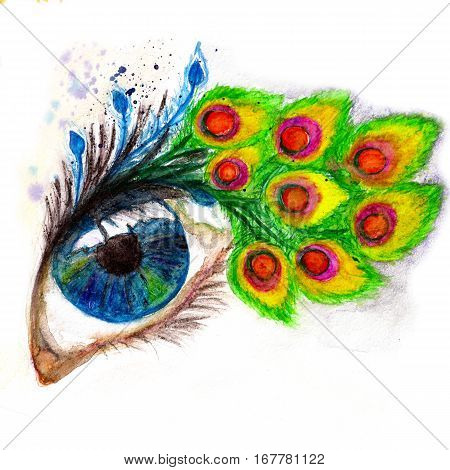 Colorful macro blue eye with peacock feather eyelashes hand drawn illustration. Watercolor and pencyl.