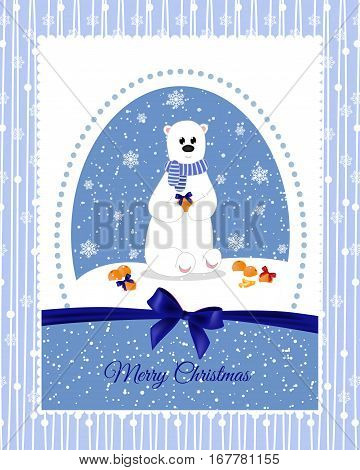 Christmas Card With A Polar Bear, Which Decorate Mandarins Beautiful Bows. Holidays.
