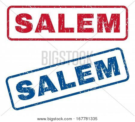 Salem text rubber seal stamp watermarks. Vector style is blue and red ink tag inside rounded rectangular banner. Grunge design and scratched texture. Blue and red emblems.