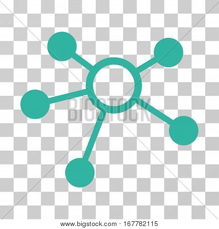 Connections icon. Vector illustration style is flat iconic symbol, cyan color, transparent background. Designed for web and software interfaces.