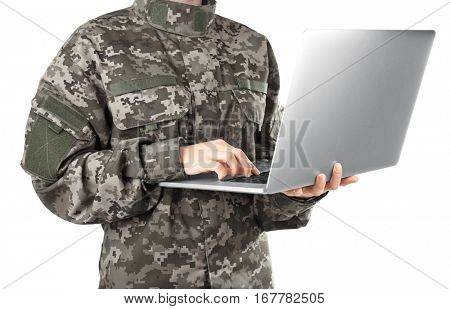 Military education concept. Soldier with laptop on white background