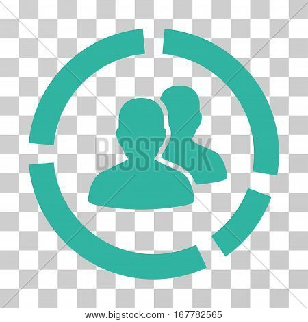 Demography Diagram icon. Vector illustration style is flat iconic symbol, cyan color, transparent background. Designed for web and software interfaces.