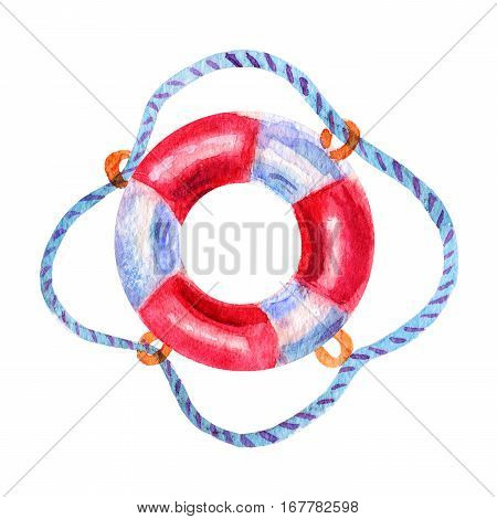 lovely watercolor painted red Lifebuoy illustration icon isolated on white background. Hand drawn design elements. Sea lifebuoy one is separately.
