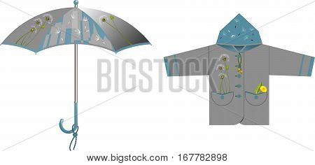 A set of clothes and accessories for rainy weather - umbrella, raincoat (jacket) with decorative accents on the subject of dandelion