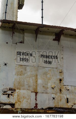 Bridge Of Derelict Car Ferry The Severn Princess