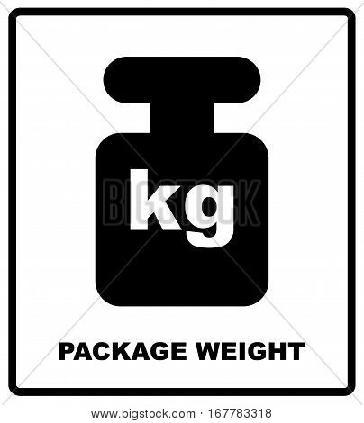 PACKAGE WEIGHT packaging symbol on a corrugated cardboard background. For use on cardboard boxes, packages and parcels, vector illustration