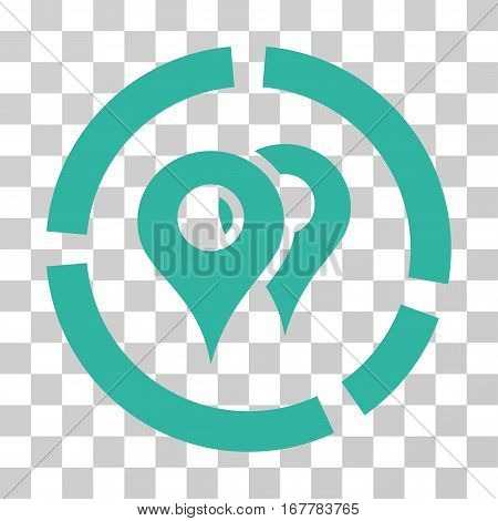 Geo Diagram icon. Vector illustration style is flat iconic symbol, cyan color, transparent background. Designed for web and software interfaces.