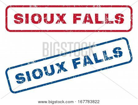 Sioux Falls text rubber seal stamp watermarks. Vector style is blue and red ink caption inside rounded rectangular banner. Grunge design and dust texture. Blue and red stickers.