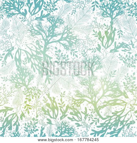 Vector Blue Freen Seaweed Texture Seamless Pattern Background. Great for elegant gray fabric, cards, wedding invitations, wallpaper. Textile pattern design.