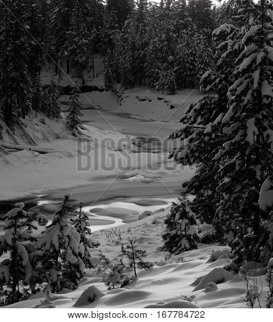 Just a small path of the Deschutes River in Central Oregon remains while the rest of the river is iced over and covered in snow with evergreens on the banks.