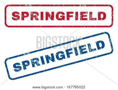 Springfield text rubber seal stamp watermarks. Vector style is blue and red ink tag inside rounded rectangular shape. Grunge design and dust texture. Blue and red signs.