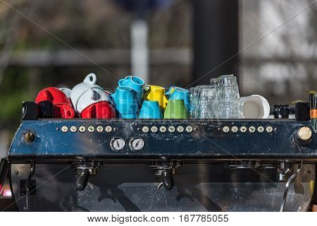 La Marzocco Industrial Grade Coffee Machine With Bright Colorful Cups