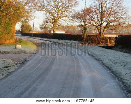 English country lane on a cold frosty morning