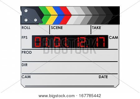 Digital movie clapper board clapperboard. 3D rendering isolated on white background
