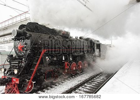 Steam Locomotive at the railway station in Moscow