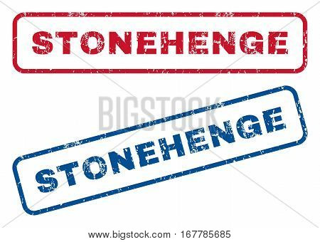 Stonehenge text rubber seal stamp watermarks. Vector style is blue and red ink caption inside rounded rectangular shape. Grunge design and unclean texture. Blue and red emblems.