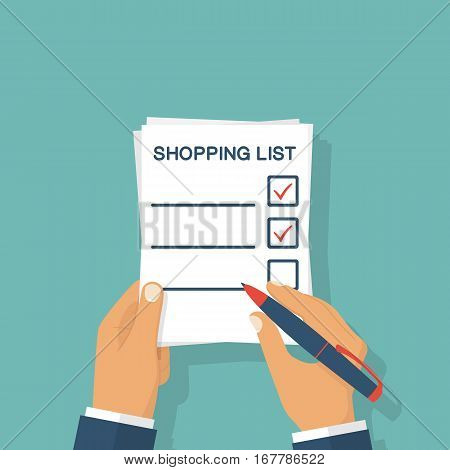 Hands Holding Paper Sheet With Shopping List