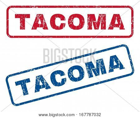 Tacoma text rubber seal stamp watermarks. Vector style is blue and red ink caption inside rounded rectangular banner. Grunge design and dust texture. Blue and red signs.