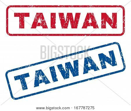 Taiwan text rubber seal stamp watermarks. Vector style is blue and red ink tag inside rounded rectangular banner. Grunge design and dust texture. Blue and red emblems.