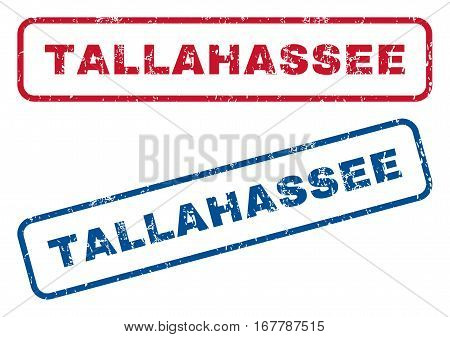Tallahassee text rubber seal stamp watermarks. Vector style is blue and red ink tag inside rounded rectangular shape. Grunge design and dust texture. Blue and red emblems.