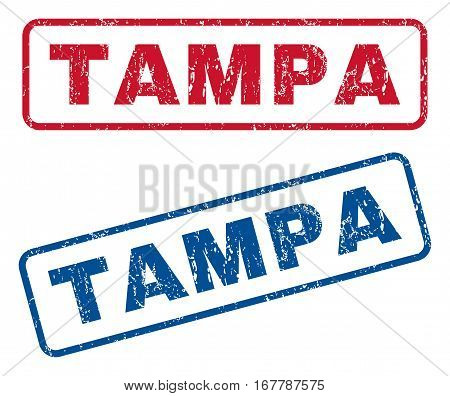 Tampa text rubber seal stamp watermarks. Vector style is blue and red ink tag inside rounded rectangular shape. Grunge design and dirty texture. Blue and red signs.