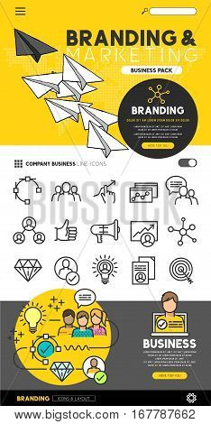 Business branding and marketing set with flat line icons and illustrations - vector collection.