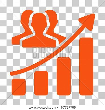 Audience Growth Chart icon. Vector illustration style is flat iconic symbol, orange color, transparent background. Designed for web and software interfaces.