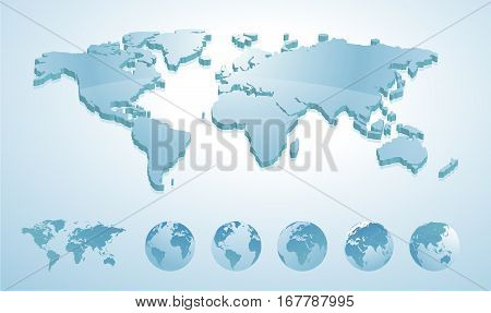 3d world map illustration with earth globes showing all continents. Vector illustration template for website design, annual reports, infographics, business and travel presentations, printed material.