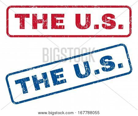 The U.S. text rubber seal stamp watermarks. Vector style is blue and red ink caption inside rounded rectangular banner. Grunge design and dirty texture. Blue and red signs.
