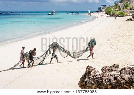 Zanzibar Tanzania - November 4 2016: Fishermen carrying their very heavy net through the Nungwi beach.
