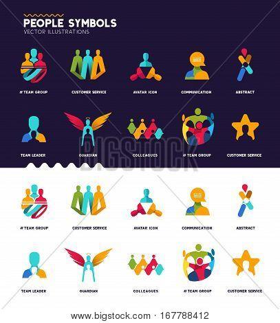 A set of diverse people and team concept design symbols.