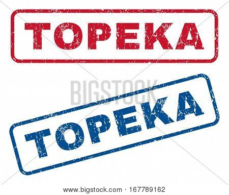 Topeka text rubber seal stamp watermarks. Vector style is blue and red ink tag inside rounded rectangular banner. Grunge design and scratched texture. Blue and red signs.