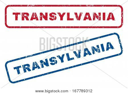 Transylvania text rubber seal stamp watermarks. Vector style is blue and red ink tag inside rounded rectangular shape. Grunge design and unclean texture. Blue and red stickers.
