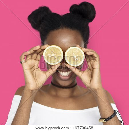Woman Smiling Happiness Cover Eye Playful Lemon Portrait