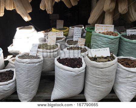 Spices on street market in Akko or Acre, Israel