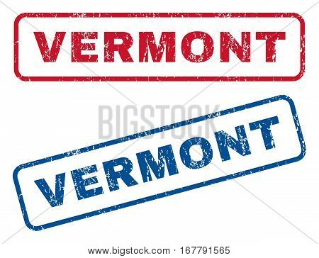 Vermont text rubber seal stamp watermarks. Vector style is blue and red ink caption inside rounded rectangular banner. Grunge design and dust texture. Blue and red stickers.