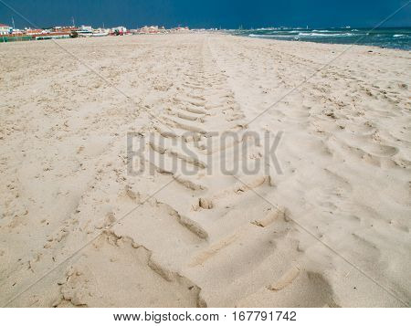 Tyre Track In The Sand Pattern