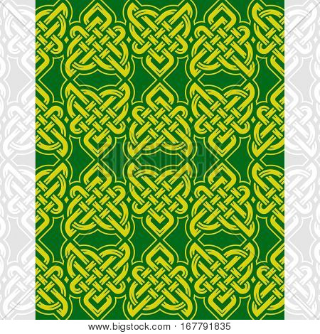 Celtic heart shape vector seamless pattern. Endless texture in green and golden color. Valentines day background for invitation, scrapbooking, cards, posters