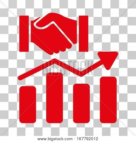 Acquisition Hands Graph Trend icon. Vector illustration style is flat iconic symbol, red color, transparent background. Designed for web and software interfaces.