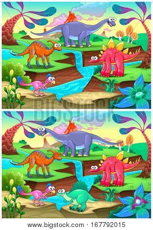 Spot the differences. Two images with six changes between them, vector and cartoon illustrations.