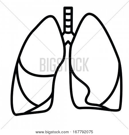 Human Lungs Symbol. Vector linear thin line illustration