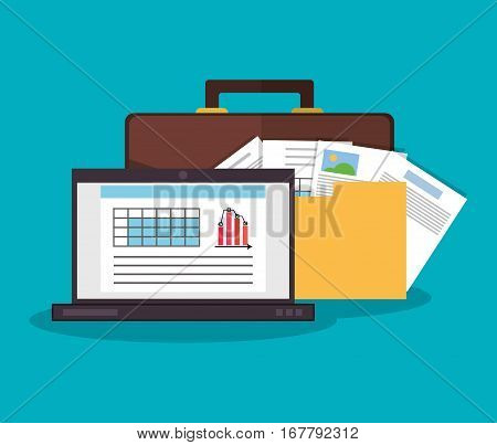 laptop computer, briefcase and file documents  over blue background. office workplace concept. colorful design. vector illustration