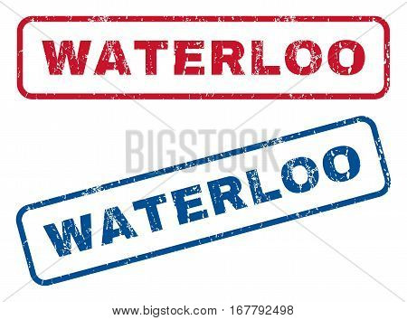 Waterloo text rubber seal stamp watermarks. Vector style is blue and red ink caption inside rounded rectangular shape. Grunge design and unclean texture. Blue and red emblems.