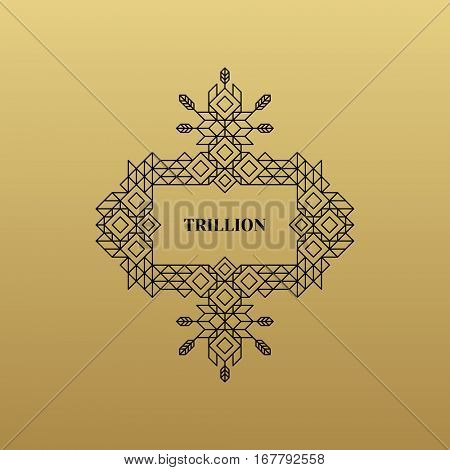 Line Art Design for Invitations, Posters, Badges. Linear Element. Geometric Style. Lineart Vector Illustration.